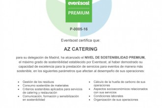 AZ Catering attains the Eventsost PREMIUM event management sustainability certification