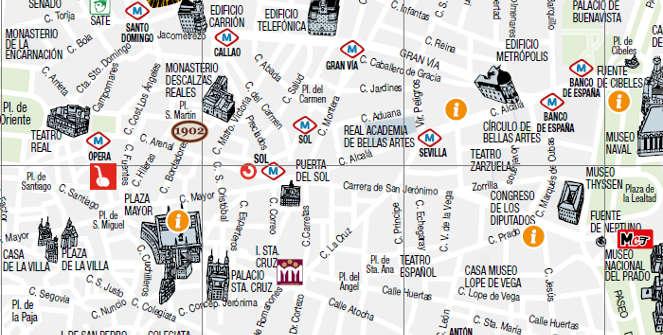 Centro De Madrid Mapa.Mapas Y Guias De Madrid