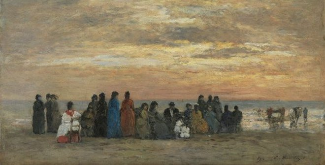 Eugène Boudin. Figuras en la playa de Trouville, 1869. Madrid, Colección Carmen ThyssenBornemisza en depósito en el Museo ThyssenBornemisza