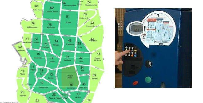 Plano zona SER y parquímetros Madrid
