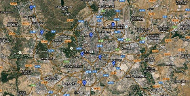 Mapa Fútbol en Madrid