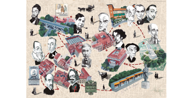 Mapa cultural ilustrado La cuesta de Moyano. KM 0 literario (PDF)