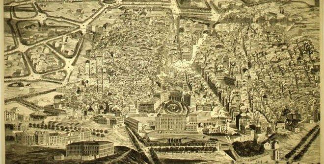 Vista general de Madrid tomada desde la Casa de Campo. Web www.memoriademadrid.es