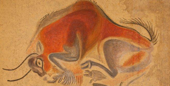 Cuadros con representaciones de animales del techo de los polícromos de la Cueva de Altamira. Francisco Benítez Mellado (1883-1962). 1921. Óleo y temple sobre lienzo