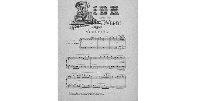 Aida: Oper in vier Acten von Antonio Ghislanzoni deutsch von Julius Schanz. Partitura vocal en alemán, ca. 1888