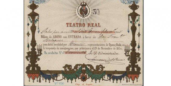 Billete de abono con entrada para el Teatro Real, 1850
