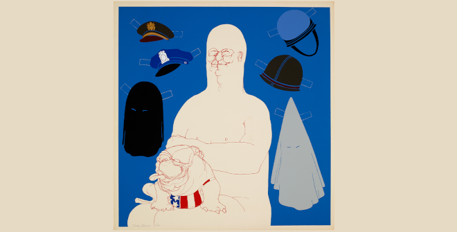 May Stevens, Big Daddy with Hats, 1971. Big Daddy con sombreros. Serigrafía en color. The Trustees of the British Museum. May Stevens; cortesía de la artista y de Ryan Lee Gallery, Nueva York