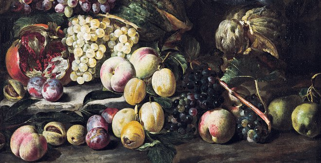 Abraham Brueghel, Still Life of Fruits and Exotic Bird, 1670, oil on canvas. Private collection, Delft, cm 70,00 x 84,50 x 0,00