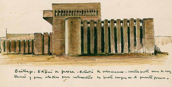 Julio Cano Lasso Dibujo del edificio de fuerza. Estación de Comunicaciones por satélites de Buitrago.