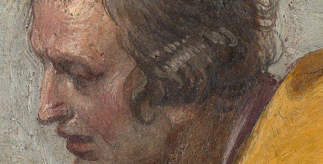 San Diego de Alcalá recibiendo limosna, pintura al fresco sobre revestimiento mural trasladado a lienzo, 126 x 223,5 cm, 1604 - 1607 [P002798]
