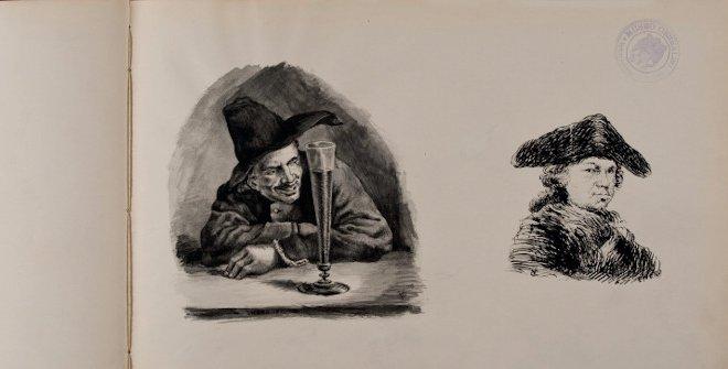 Álbum de dibujo. Enrique de Aguilera, conde de Villalobos. Página 25: dibujo autógrafo a tinta sobre papel. 325 x 545mm. Inv. Nº 27100