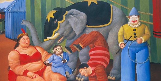 Fernando Botero - Gente del circo con elefante, 2007