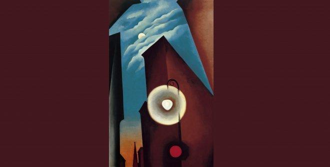 Georgia O'Keeffe. Calle de Nueva York con luna, 1925. Óleo sobre lienzo. 122 x 77 cm © Georgia O'Keeffe Museum, VEGAP, Madrid