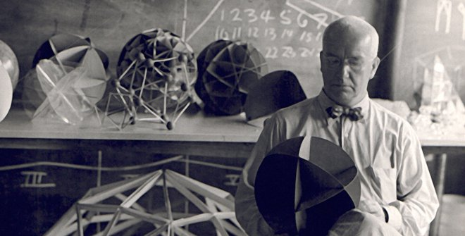 Hazel Larsen Archer. Buckminster Fuller at Black Mountain College, Summer 1948. Courtesy of the Estate of Hazel Larsen Archer / Black Mountain College Museum + Arts Center