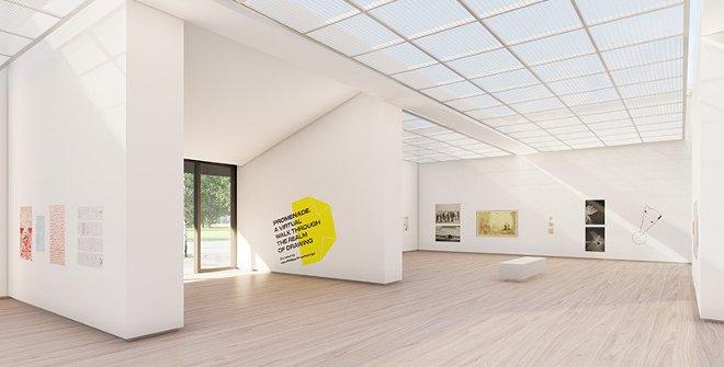 "Vista de ""Promenade. A virtual Walk through the realm of Drawing"", primera exposición de Drawing Room Store"