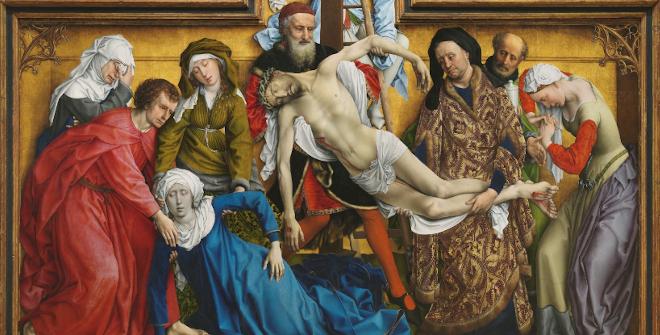 ElDescendimiento.Rogier van der Weyden.Óleo sobre tabla, 204,5 x 261,5 cm. Antes de 1443. Museo Nacional de Prado, Madrid