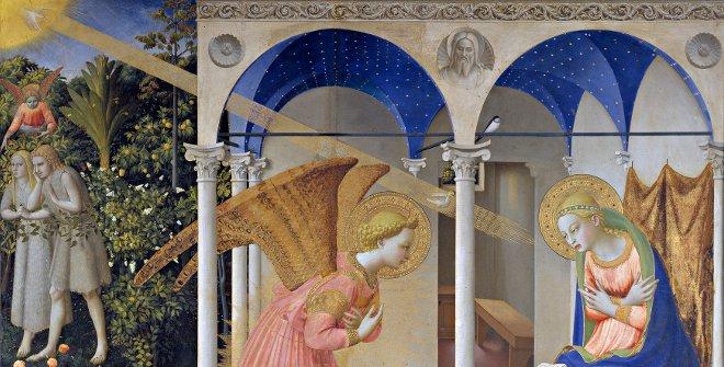 La Anunciación. Fra Angelico. Témpera sobre tabla. 162,3 x 191,5 cm. Hacia 1426.Museo Nacional de Prado, Madrid