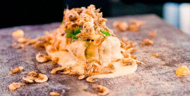 Gyozas de langostinos y camarones del restaurante Cilindro. Gastrofestival Madrid 2021