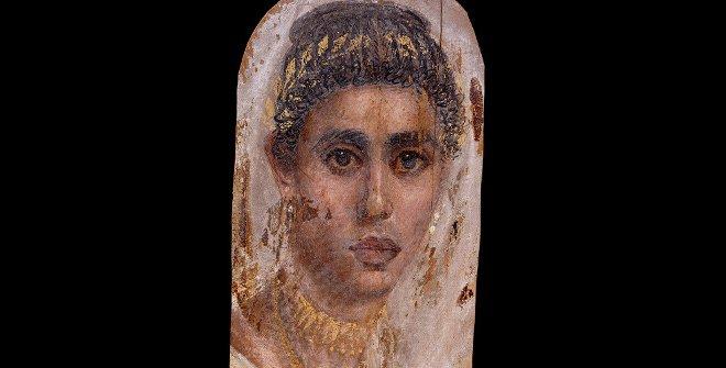 Retrato de mujer, témpera y encáustica sobre madera de tilo, c. 100-120, Saqqara(Egipto)© Trusteesof the British Museum
