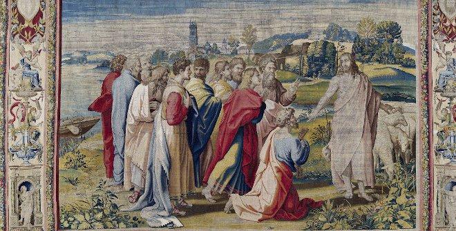 La misión de san Pedro o Apacienta mis ovejas.Jan Van Tieghem, Frans Gheteels, Rafael Sanzio.h. 1550-1560.Tapiz490 x 727 cm.Palacio Real de Madrid