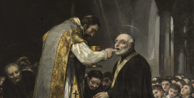 La última comunión de San José de Calasanz, Francisco de Goya. Óleo sobre lienzo, 303 x 222 cm. 1819. Madrid, Colección Padres Escolapios