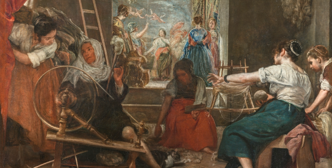 Las Hilanderas o la fábula de Aracne.Diego Rodríguez de Silva y Velázquez.Óleo sobre lienzo. 220 x 289 cm. 1655-1660.Museo Nacional de Prado, Madrid