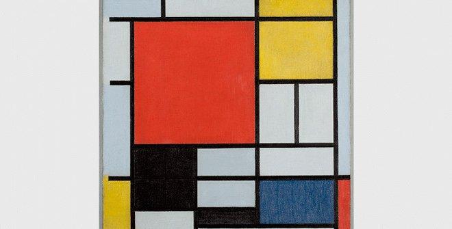 Piet Mondrian, Composición con rojo, negro, amarillo y gris, 1921. Óleo sobre lienzo, 39,5 x 35 cm, Kunstmuseum Den Haag © Mondrian // Holtzman Trust