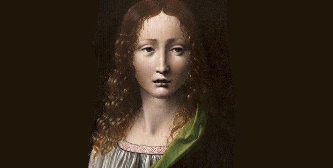 El Salvador adolescente. Atribuido a Giovanni Antonio Boltraffio (1466/67-1516). Óleo sobre tabla, 25,3 x 18,5 cm. h.1490-95. Madrid, Museo Lázaro Galdiano