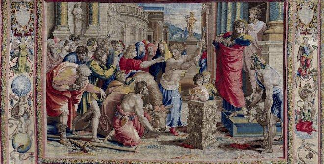 San Pablo y san Bernabé en Lystra.Jan Van Tieghem, Frans Gheteels, Rafael Sanzio.h. 1550-1560.Tapiz de seda y lana485 x 746 cm.Palacio Real de Madrid