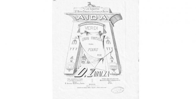 Partitura de la Gran fantasía para piano sobre motivos de Aida de Verdi, Dámaso Zabalza, 1876