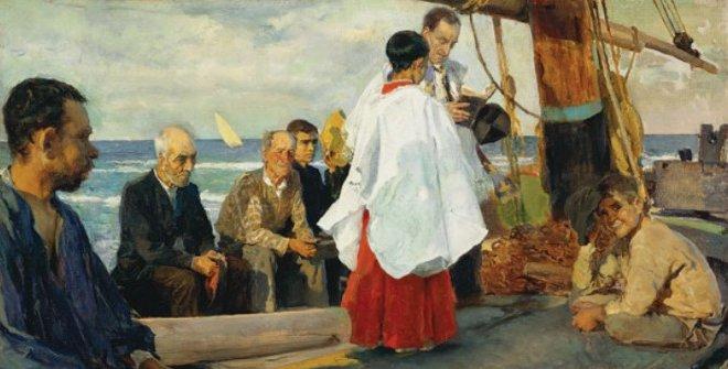 La bendición de la barca, 1895. Óleo sobre lienzo. Museo de Bellas Artes de Asturias. Colección Pedro Masaveu