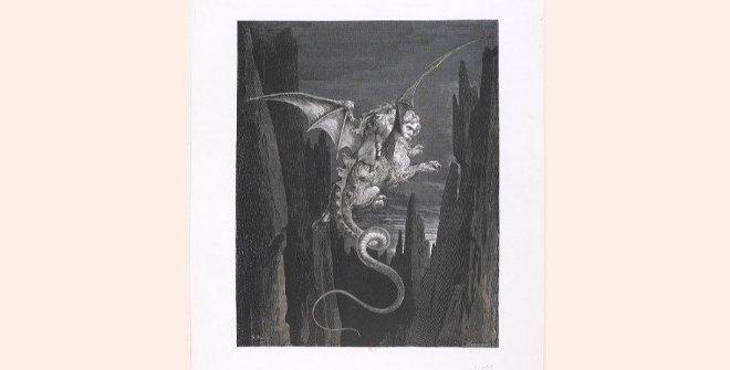 Dibujo de Gustavo Doré, página de ilustración impreso en El Infierno, de Dante Alighieri, con ilustraciones de Gustavo Doré. © Bibliotèque Nationale de France