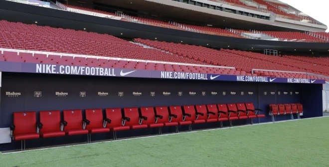 Banquillo del Atlético de Madrid. Tour Wanda Metropolitano