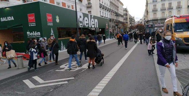 Puerta del Sol peatonalizada. Navidad 2020-2021