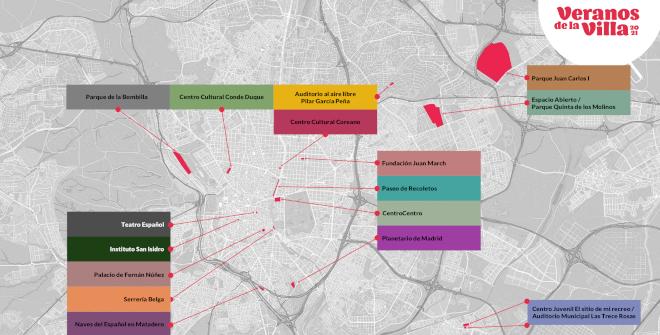 Mapa de espacios de Veranos de la Villa 2021. Pulsa en la imagen para ampliarla