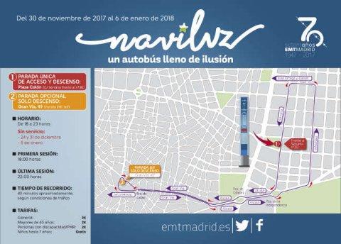 Mapa Naviluz 2017-2018, el autobús de la Navidad