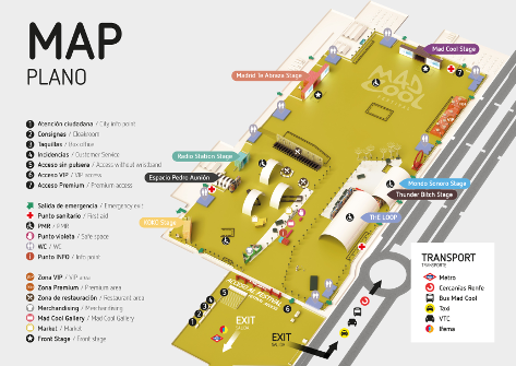 Mapa Mad Cool 2019. Pulsar en la imagen para ampliar