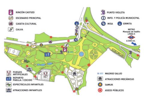 Mapa Pradera de San Isidro / Fiestas de San Isidro Madrid. Pulsa para ampliar