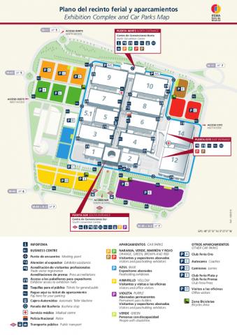 Plano accesos y aparcamientos Recinfo Ferial IFEMA - Feria de Madrid. Pulsa en la imagen para ampliar