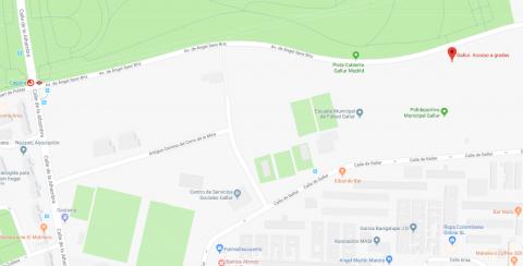 Plano situación ampliado Centro Deportivo Municipal Gallur. Acceso pista cubierta de atletismo