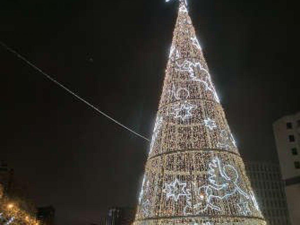 Árbol de Navidad en la Plaza de Castilla. Navidad 2020-2021