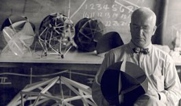 Hazel Larsen Archer. Buckminster Fuller at Black Mountain College, Summer 1948. Courtesy of the Estate of Hazel Larsen Archer / Black Mountain College Museum + Arts Center