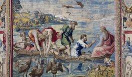 La pesca milagrosa.Jan Van Tieghem, Frans Gheteels, Rafael Sanzio. h. 1550-1560. Tapiz de seda y lana 487 x 592 cm. Palacio Real de Madrid