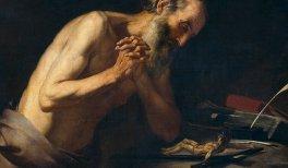 San Jerónimo. Murillo, Bartolomé Esteban.Hacia 1650. Óleo,lienzo,Alto187 cm.; Ancho133 cm.; Alto del marco215,3 cm.; Ancho del marco158,5 cm.Colección Real