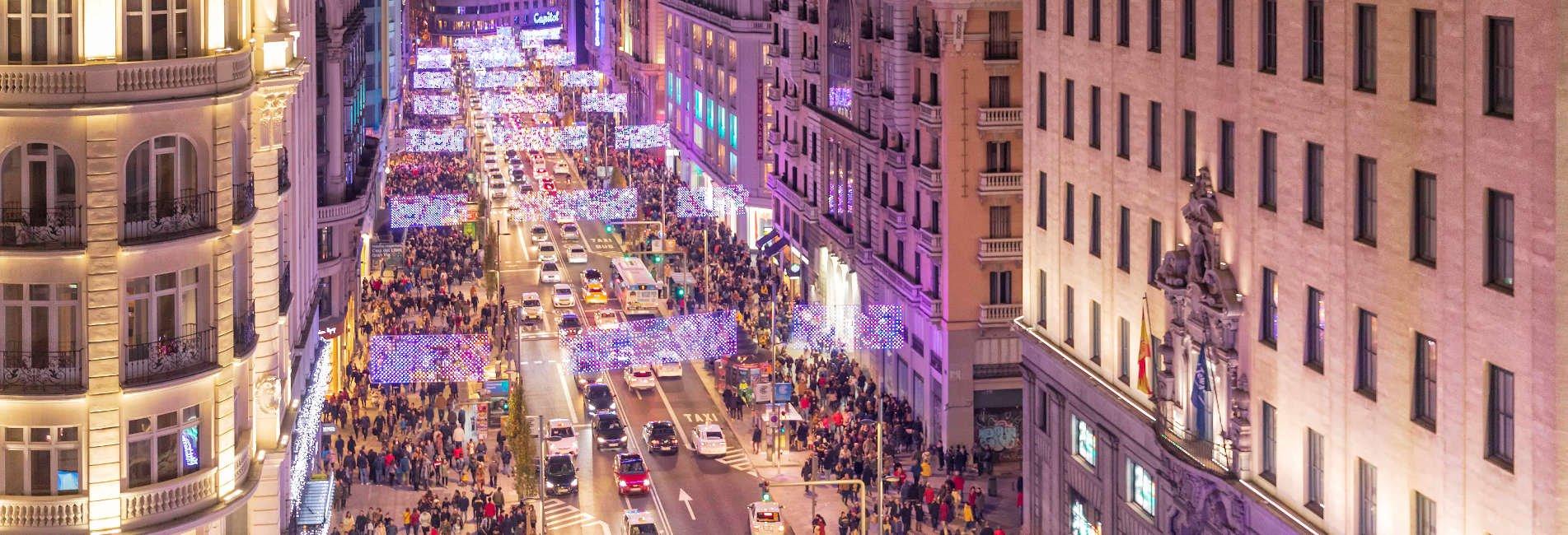 Luces de Navidad Madrid 2018-2019. Calle Gran Vía.