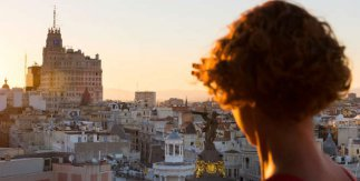 Puesta de sol desde la azotea del Círculo de Bellas Artes. © César Lucas para Madrid Destino