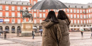 Madrid con lluvia. Plaza Mayor