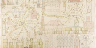 John Hejduk, Lancaster/Hanover Masque, 1980-1982. Lápiz color y grafito sobre papel traslucido [92.4 x 153.5]. Canadian Centre for Architecture. © Estate of John Hejduk