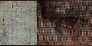 Voliera 4 - cm 103,5x284 - olio su tela e tavola di legno, dietro lamiera forata, cemento e ferro -  cm - 2017 - ph Massimiliano Ruta