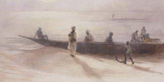 Río Níger. Técnica mixta sobre lienzo. 73 x 114 cm